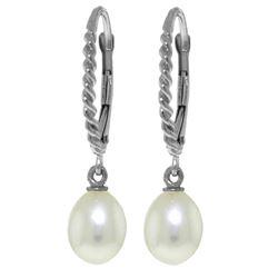Genuine 8 ctw Pearl Earrings Jewelry 14KT White Gold - REF-22Z5N