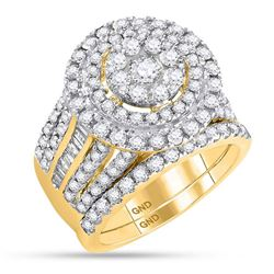 3.12 CTW Diamond Cluster Bridal Engagement Ring 14KT Yellow Gold - REF-254W9K