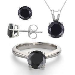 14K White Gold SET 3.20CTW Black Diamond Ring, Earrings, Necklace - REF-199R8X-WJ13342