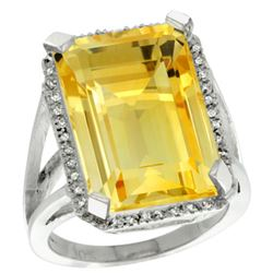 Natural 15.06 ctw Citrine & Diamond Engagement Ring 14K White Gold - REF-81Y9X