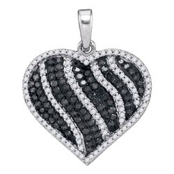 1.5 CTW Black Color Diamond Heart Love Pendant 10KT White Gold - REF-59K9W