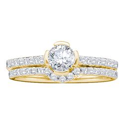 0.76 CTW Diamond Bridal Wedding Engagement Ring 14KT Yellow Gold - REF-139H5M