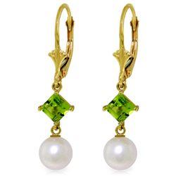 Genuine 5 ctw Blue Topaz & Peridot Earrings Jewelry 14KT Yellow Gold - REF-29W7Y