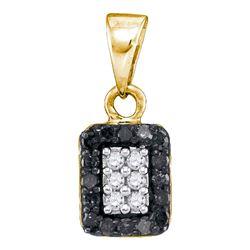 0.20 CTW Black Color Diamond Rectangle Cluster Pendant 10KT Yellow Gold - REF-9F7N