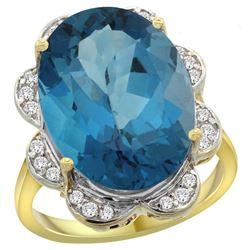 Natural 13.83 ctw london-blue-topaz & Diamond Engagement Ring 14K Yellow Gold - REF-129V6F
