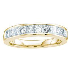 0.50 CTW Princess Channel-set Diamond Single Row Ring 14KT Yellow Gold - REF-44H9M