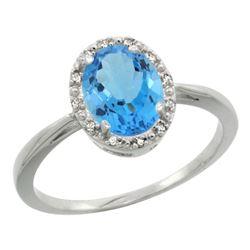 Natural 1.22 ctw Swiss-blue-topaz & Diamond Engagement Ring 14K White Gold - REF-27H2W