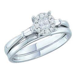 0.25 CTW Princess Diamond Soleil Bridal Engagement Ring 14KT White Gold - REF-44N9F