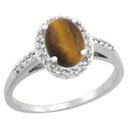 Natural 1.16 ctw Tiger-eye & Diamond Engagement Ring 14K White Gold - REF-30R9Z