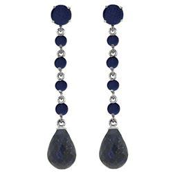 Genuine 31.6 ctw Sapphire Earrings Jewelry 14KT White Gold - REF-55M2T