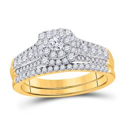 1.01 CTW Diamond Bridal Wedding Engagement Ring 14KT Yellow Gold - REF-119Y9X
