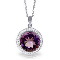 Genuine 6.2 ctw Amethyst & Diamond Necklace Jewelry 14KT White Gold - REF-70Z6N