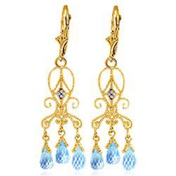 Genuine 4.81 ctw Blue Topaz & Diamond Earrings Jewelry 14KT Yellow Gold - REF-46Z7N