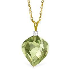 Genuine 13.05 ctw Green Amethyst & Diamond Necklace Jewelry 14KT Yellow Gold - REF-31Y6F