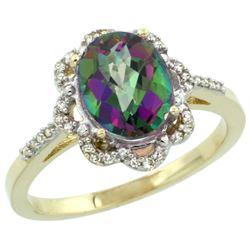 Natural 1.85 ctw Mystic-topaz & Diamond Engagement Ring 14K Yellow Gold - REF-38N6G
