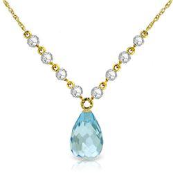 Genuine 11.30 ctw Blue Topaz & Diamond Necklace Jewelry 14KT Yellow Gold - REF-129Y4F