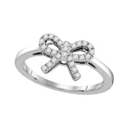 0.16 CTW Diamond Ribbon Bow Knot Ring 10KT White Gold - REF-18W2K