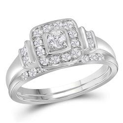 0.30 CTW Diamond Solitaire Square Halo Wedding Bridal Ring 10KT White Gold - REF-59K9W