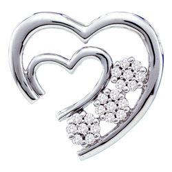 0.07 CTW Diamond Open Double Heart Love Pendant 10KT White Gold - REF-10X5Y