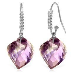 Genuine 21.68 ctw Amethyst & Diamond Earrings Jewelry 14KT White Gold - REF-61N3R