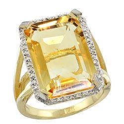 Natural 13.72 ctw Citrine & Diamond Engagement Ring 14K Yellow Gold - REF-81N3G