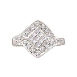 0.50 CTW Princess Diamond Square Cluster Ring 14KT White Gold - REF-32F9N