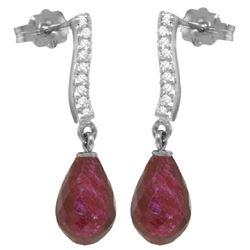 Genuine 6.88 ctw Ruby & Diamond Earrings Jewelry 14KT White Gold - REF-47A3K