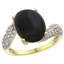 Natural 2.46 ctw onyx & Diamond Engagement Ring 14K Yellow Gold - REF-47G4M