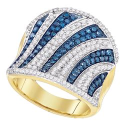 1.45 CTW Blue Color Diamond Concave Vertical Ring 10KT Yellow Gold - REF-75F2N