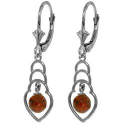 Genuine 1.25 ctw Garnet Earrings Jewelry 14KT White Gold - REF-25A6K
