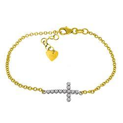 Genuine 0.18 ctw Diamond Anniversary Bracelet Jewelry 14KT Yellow Gold - REF-61V8W