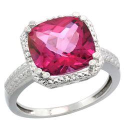 Natural 5.96 ctw Pink-topaz & Diamond Engagement Ring 14K White Gold - REF-42V3F