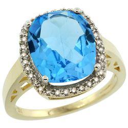 Natural 5.28 ctw Swiss-blue-topaz & Diamond Engagement Ring 14K Yellow Gold - REF-53V2F