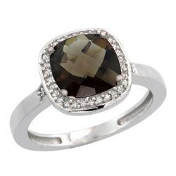 Natural 3.94 ctw Smoky-topaz & Diamond Engagement Ring 10K White Gold - REF-29M2H