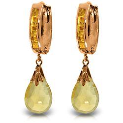 Genuine 6.85 ctw Citrine Earrings Jewelry 14KT Rose Gold - REF-49Z6N