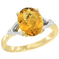 Natural 2.41 ctw Whisky-quartz & Diamond Engagement Ring 10K Yellow Gold - REF-23Z8Y