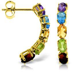 Genuine 2.5 ctw Multi-gemstones Earrings Jewelry 14KT Yellow Gold - REF-37W4Y