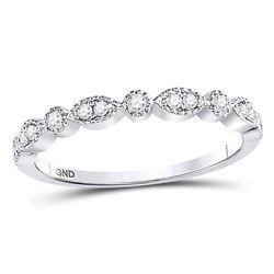 0.17 CTW Diamond Milgrain Stackable Ring 10KT White Gold - REF-18X7Y