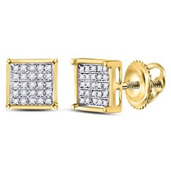 0.15 CTW Diamond Square Cluster Stud Earrings 10KT Yellow Gold - REF-8M9H