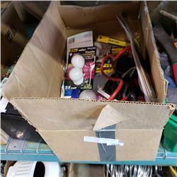 BOX OF LIGHT BULBS, EXTENSION CORD, SPLITTER