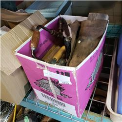BOX OF VINTAGE HAND TOOLS, PLANE, ETC