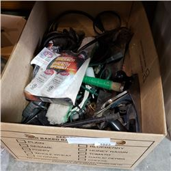 BOX OF TOOLS, HAND PLANE, AND ELECTRIC DRILL