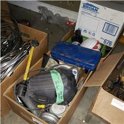 BROAN EXHAUST FAN, 2 BOXES OF TOOLS, SHOP SUPPLIES