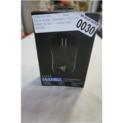 RAZOR MAMBA TOURNAMENT EDITION MOUSE IN BOX - TESTED AND WORKING