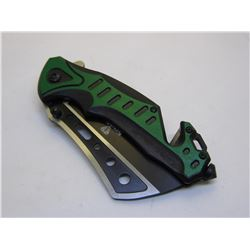 Green Snake Eye Tactical Spring Assist Knife 4.75 inches Closed