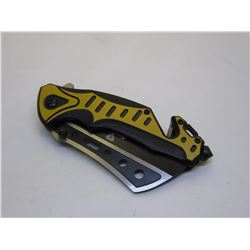 Yellow Snake Eye Tactical Spring Assist Knife 4.75 inches Closed