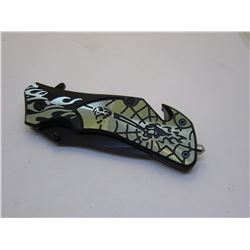 Green Snake Eye Tactical Spring Assist Knife 4.5 inche Closed