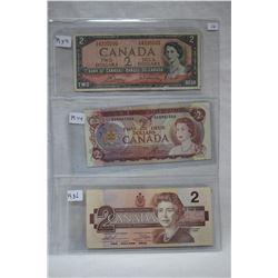 Canada Two Dollar Bills (3)