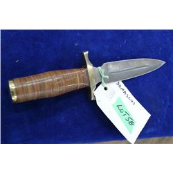 "Damascus Dagger - 7"" Blade, Stacked Leather Handle, Brass Guard & Bolster, No Sheath"