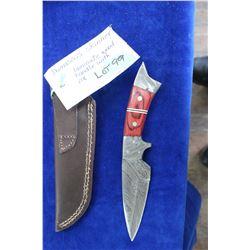 "Damascus Skinner, Laminate Wood Handle with Mosaic Pins, 4"" Blade, Sheath"